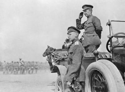 Aleksandr Kerensky reviewing the troops in 1917