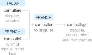 Camouflage Word Origin