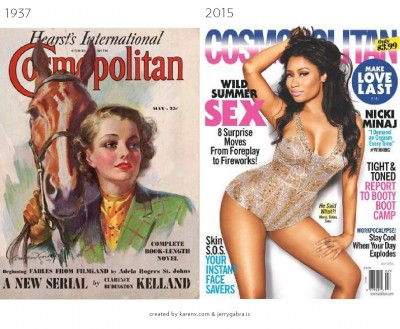 Cosmo Covers 1937 vs. 2015