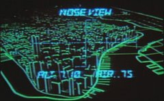 This is a cropped screen shot from the DVD version of John Carpenter's Escape From New York. It shows the wire frame image generated by the glider's approach computer. At the time of production, computer effect were prohibitively expensive, so a physical model was painted black and outlined using reflective tape. The model was then filmed using a black light.