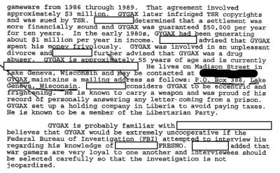 Gary Gygax FBI File from 1995