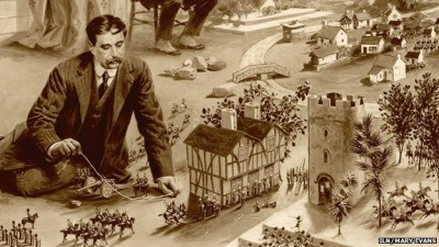 H.G. Wells playing Little Wars, illustration from London News 1913