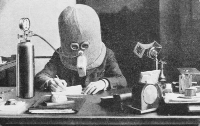 Hugo Gernsback wearing his Isolator