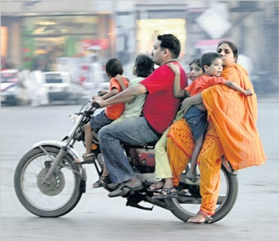 Indian Family on Motorcycle