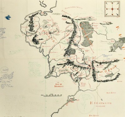 Map of Middle Earth Annotated by Tolkien