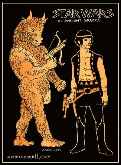 Star Wars of Ancient Greece Chewbacca as Minotaur, Han