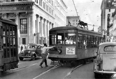 Streetcar in Traffic in Fresno in 1938
