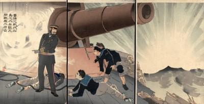 Woodblock, Kobayashi Kiyochika,  In the Battle of the Yellow Sea